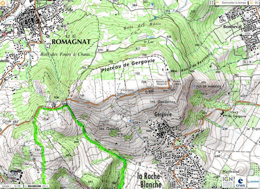Situation de la région du plateau de Gergovie
