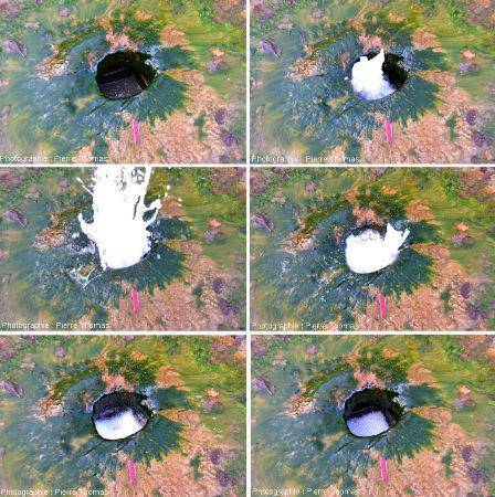 Gros plan sur le trou de la «Gargouillère» pendant un jaillissement, en 6 vues