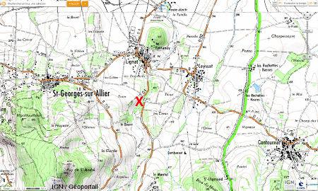 Localisation (croix rouge) de la source, la «Gargouillère», de Lignat, Saint Georges sur Allier, Puy de Dôme)