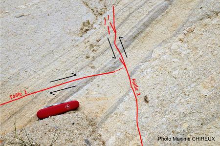 Schéma interprétatif des failles inverses atypiques dans des formations volcano-sédimentaires remplissant la caldeira des Mont-Dore, Murat-le-Quaire (Puy de Dôme)