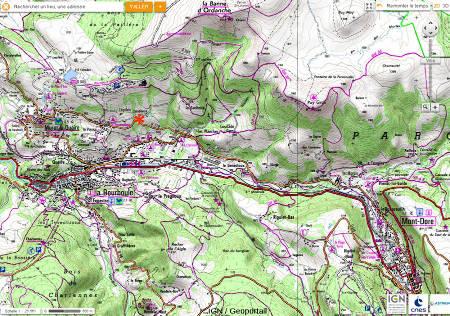 Localisation (astérisque rouge) de l'affleurement de terrains volcano-sédimentaires faillés sur la D219 reliant Murat-le-Quaire au Mont-Dore