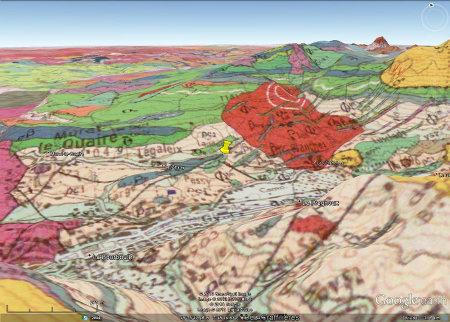 Carte géologique 3D montrant la situation de l'affleurement (punaise jaune)