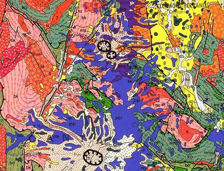 Extrait de la carte géologique au 1/1.000.000 montrant les trois caldeiras cartées dans le Massif Central