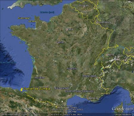 Localisation de Zumaia (Pays Basque, Espagne), à 40km seulement à l'Ouest d'Endaye