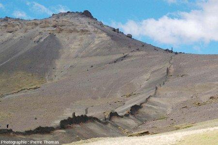 Vue globale sur le dyke basaltique n°1 et sur l'encaissant sédimentaire (strates horizontales) qu'il intrude, Patagonie argentine, au pied du Cerro Zeballos