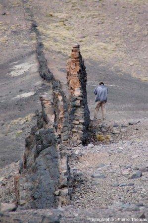 Vue rapprochée sur un partie du dyke basaltique n°2, Patagonie argentine