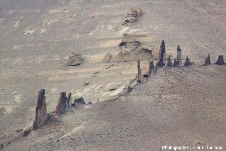 Vue latérale rapprochée du dyke basaltique n°3, Patagonie argentine