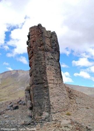 Vue par la tranche d'un fragment du dyke basaltique n°3, Patagonie argentine