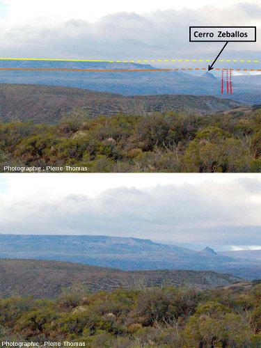 Vues interprétée et non interprétée de la partie occidentale de la Meseta del Lago Buenos Aires, plateau basaltique alimenté par des dykes