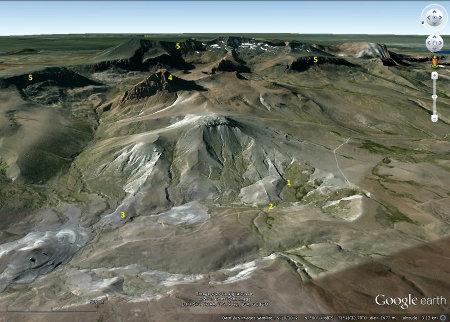 Localisation des dykes (1, 2 et 3), du Cerro Zeballos (4) et du rebord du plateau basaltique (5)