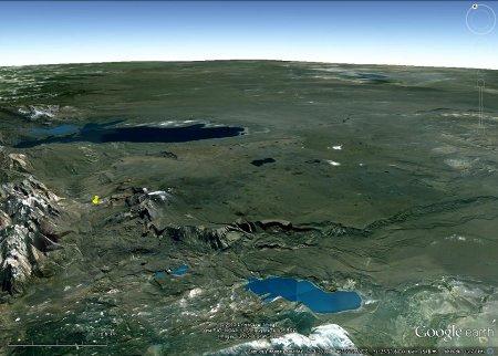 Vue de la Meseta del Lago Buenos Aires, plateau basaltique alimenté par des dykes
