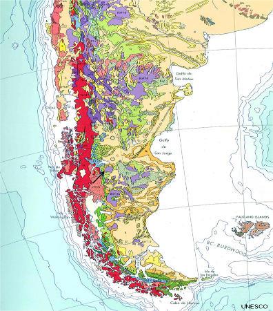 Carte géologique de la Patagonie du Sud