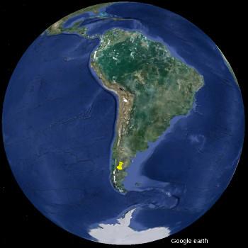 Localisation de la Meseta del Lago Buenos Aires en Amérique du Sud