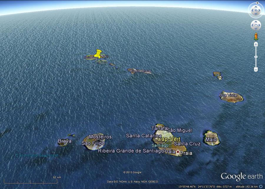 Position de l'île Sao Vincente dans l'archipel du Cap Vert