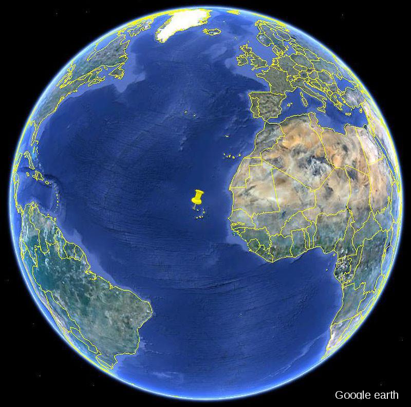 Position de l'archipel du Cap Vert dans l'océan Atlantique