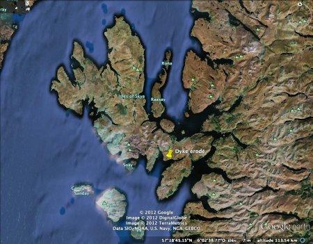 Zoom sur l'île de Skye et position du dyke étudié