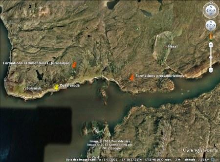 Vue du loch Eishort et repérage des formations géologiques