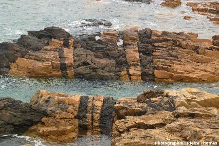 Dykes basaltiques intrusifs dans un granite, Pointe du Château à Plougrescant (Côtes d'Armor)