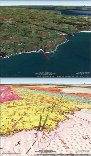 Vue du littoral breton près de la Pointe du Brenterc'h à Ploumoguer (Finistère) et carte géologique correspondante