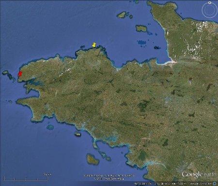 Localisation de la Pointe du Château (punaise jaune) à Plougrescant (Côtes d'Armor) et de la Pointe du Brenterc'h (punaise rouge) à Ploumoguer (Finistère)