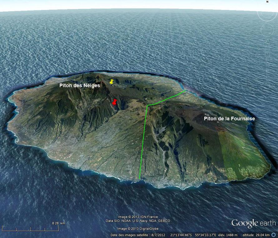 Vue générale de l'île de La Réunion