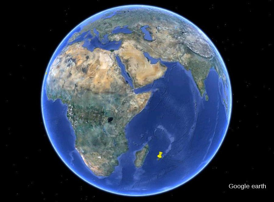 Situation de l'île de La Réunion dans l'Océan Indien