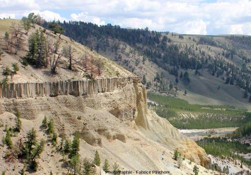 Sill basaltique intrusif dans des sédiments détritiques grossiers, vallée de la Yellowstone River, Parc National de Yellowstone (USA)