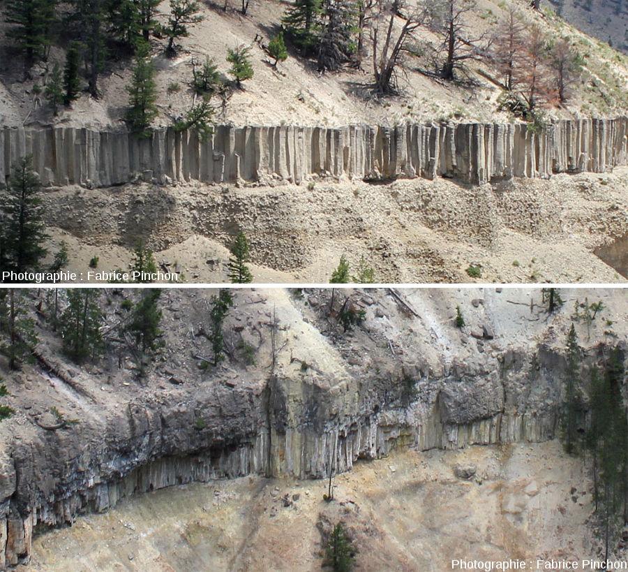 Juxtaposition d'un zoom du sill et d'un zoom de la coulée pour apprécier la différence de structure interne entre sill et coulée