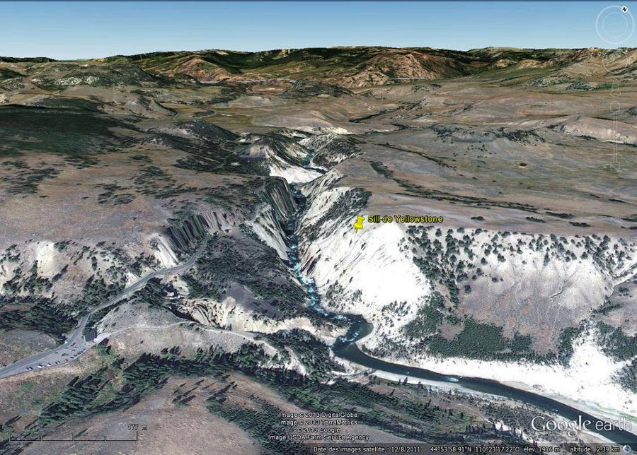 La vallée de la Yellowstone River vue au niveau des images précédentes