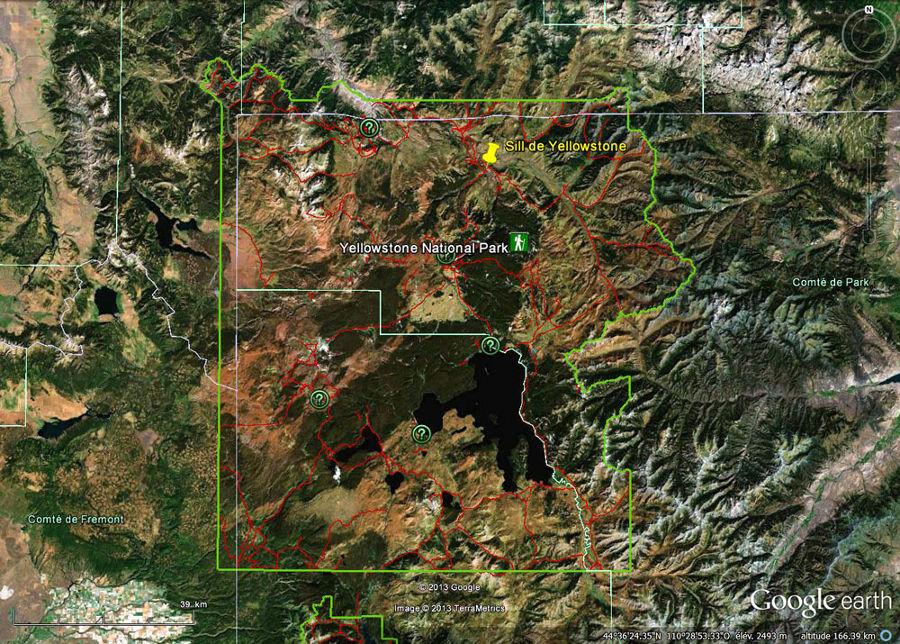 Localisation du sill et de la coulée (punaise jaune) dans le Parc National de Yellowstone (limité par le contour vert)