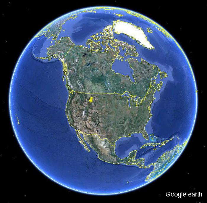 Localisation du Parc National de Yellowstone et de son point chaud