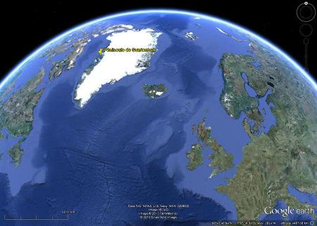 Contexte de la Baie de Baffin à l'Ouest de Groenland par rapport à l'Atlantique Nord dont elle est une dépendance