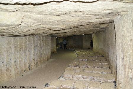 Vue d'ensemble d'une galerie des champignonnières de Bourré (Indre et Loire)
