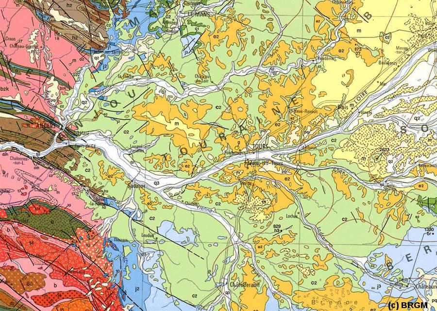 Extrait de la carte géologique de France au 1/1.000.000