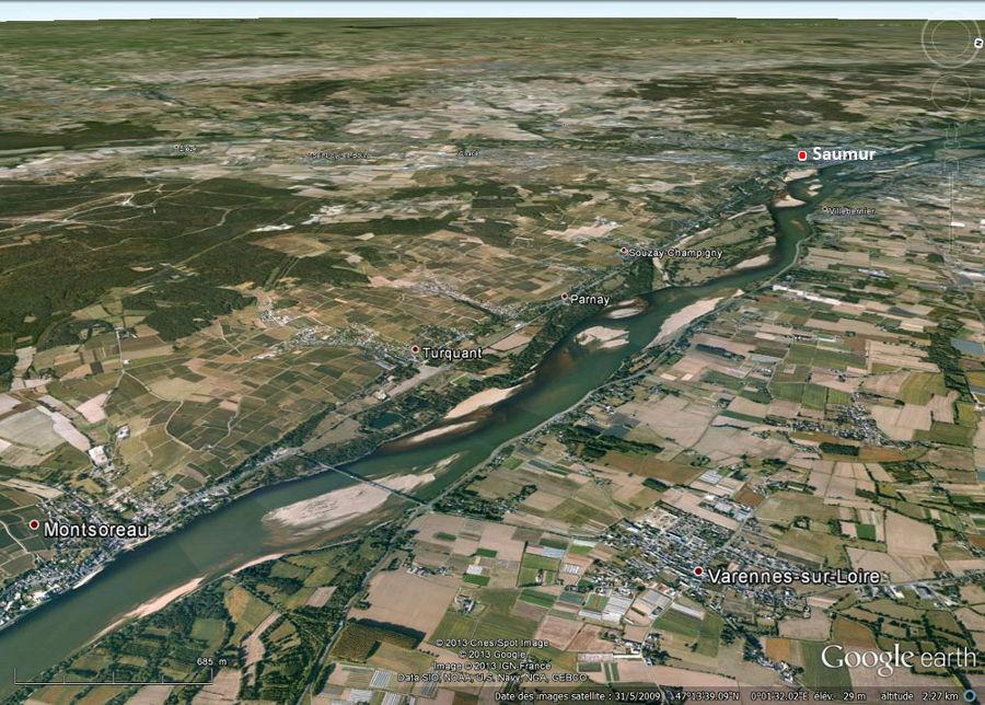 Vue du Val de Loire, entre Montsoreau et Saumur