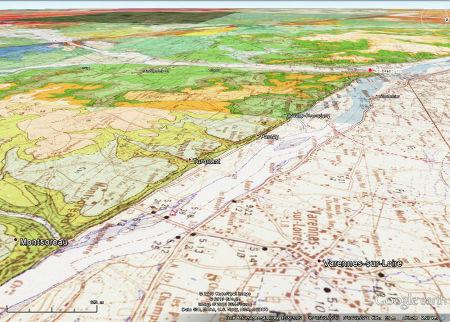 Carte géologique du Val de Loire entre Montsoreau et Saumur