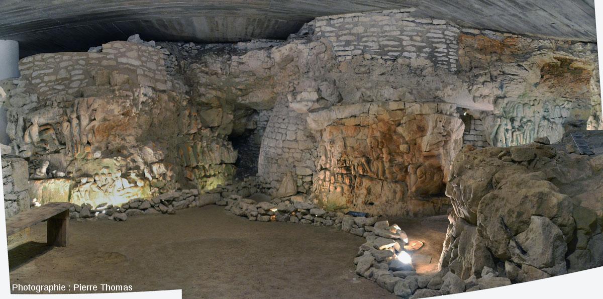 Mosaïque d'images montrant la «Cave aux Sculptures», Dénézé-sous-Doué, Maine et Loire