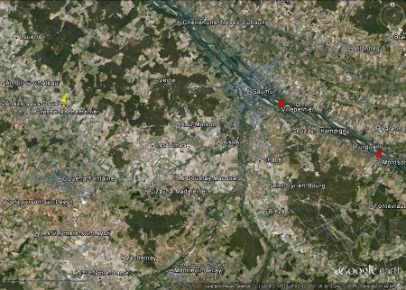 Localisation de la «Cave aux Sculptures» de Dénézé-sous-Doué (punaise jaune), dans le Maine et Loire