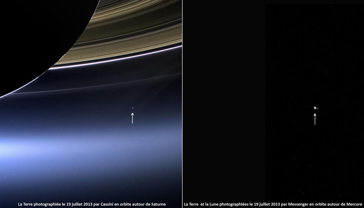 La Terre vue depuis Saturne (à gauche) par Cassini et le couple Terre-Lune vu depuis Mercure (à droite) par Messenger ce même 19 juillet 2013