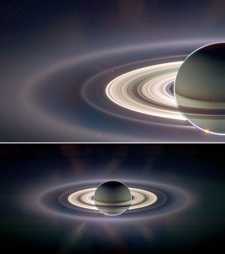 Zoom et vue d'ensemble du système saturnien pris le 6 septembre 2006 et montrant la Terre (exactement au centre de l'image supérieure) entre les anneaux G et E