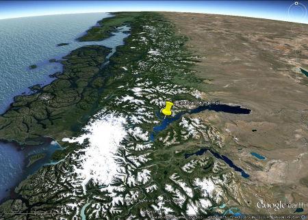 Localisation de la cathédrale de marbre, au bord du lac Général Carrera – Buenos Aires, au pied oriental des Andes de Patagonie
