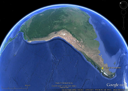 Localisation de la cathédrale de marbre, au pied oriental des Andes de Patagonie, au Sud de l'Amérique du Sud