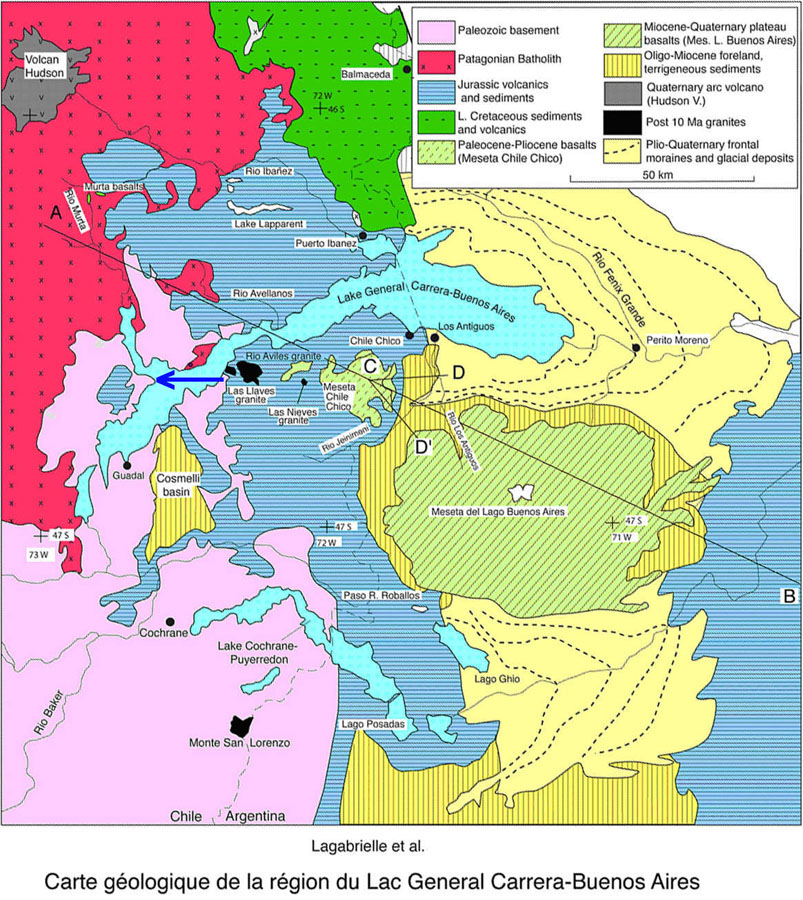 Carte géologique de la région du lac Général Carrera (Chili) – Buenos Aires (Argentine)