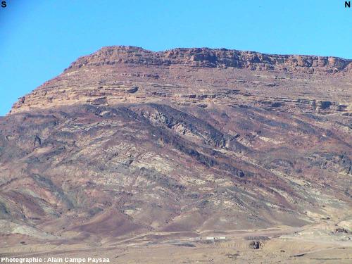 Grès horizontaux du Paléozoïque inférieur (Cambrien) reposant en discordance sur un socle protérozoïque, région de Al Quwayra, Jordanie