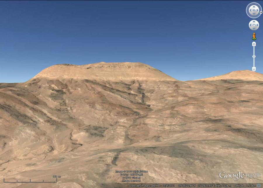 Image Google Earth prise en direction de l'Ouest, région d'Al Quwayra, Jordanie