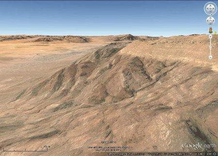 Image Google Earth prise en direction du Sud, région d'Al Quwayra, Jordanie