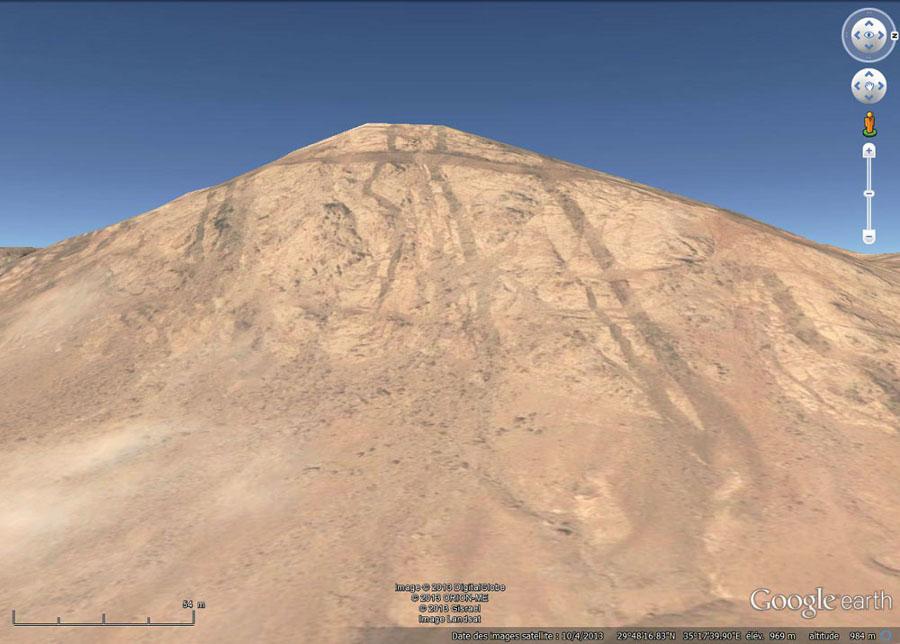 image Google Earth prise en direction de l'Ouest, vers Al Quwayra (Jordanie)