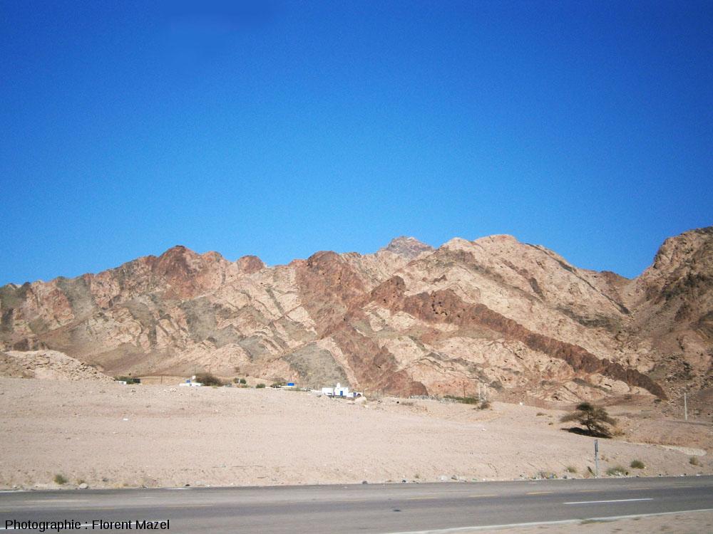 Réseaux de dykes noirâtres et rougeâtres au-dessus d'un petit village, à une dizaine de kilomètre à l'Est d'Aqaba (Jordanie)