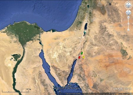 Localisation des secteurs d'Al Quwayra, d'Aqaba et du Wadi Rum, Jordanie