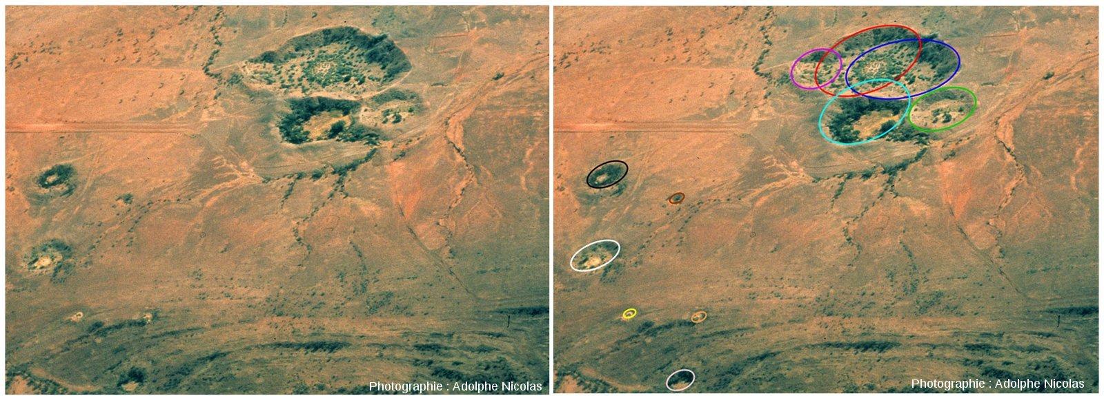 """Images """"brute"""" et """"interprétée"""" du champ de cratères d'Henbury, Australie"""
